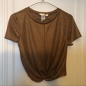 Tops - Shimmery Glitter Gold-ish Crop Top